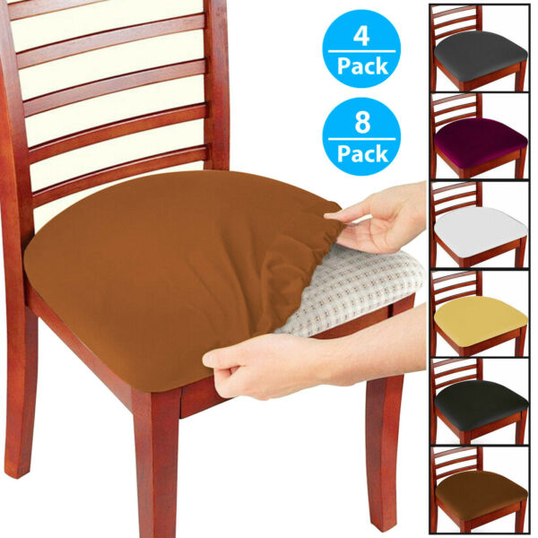 4 8 Pcs Removable Elastic Stretch Slipcovers Dining Spandex Chair Seat Cover US $16.96