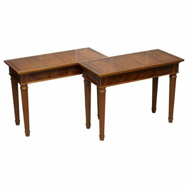 MATCHING PAIR RRP £24000 DAVID LINLEY 1993 STAMPED BURR WALNUT CONSOLE TABLES 2