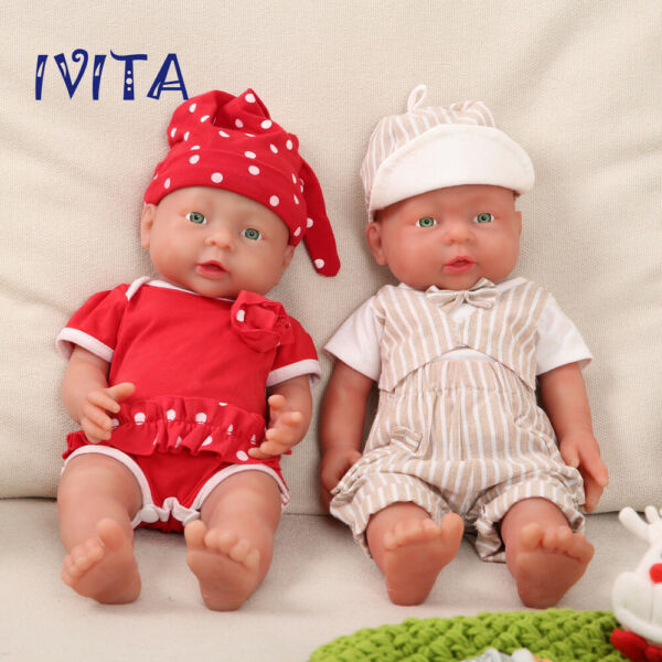 IVITA 16'' Full Body Silicone Reborn Twins Dolls Baby Girl And Boy Birthday Gift