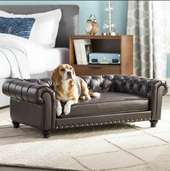 Luxurious Brown Leather Large Elevated Rectangle Dog Sofa Bed Chair $349.99