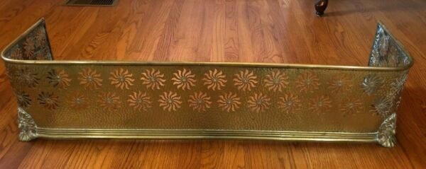 Antique Tall Brass Fire Fireplace Fender with Sunbursts Lion's Face