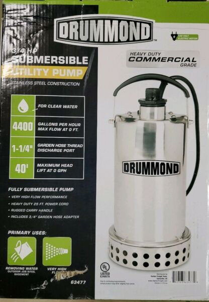 Drummond 34 Submersible Utility Pump 63477 Stainless Steel Construction