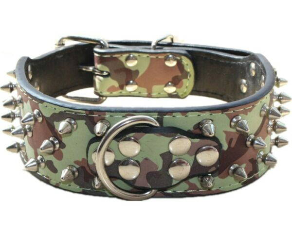 2quot; Wide Camouflage Leather Dog Collar Spiked Studded for Pit Bull Terrier Boxer $18.04