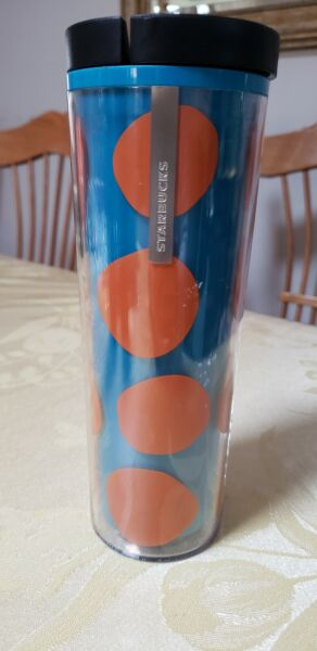 Starbucks Orange amp; Blue Tumbler Textured Insulated 16 oz Cold Hot Cup NEW 2013