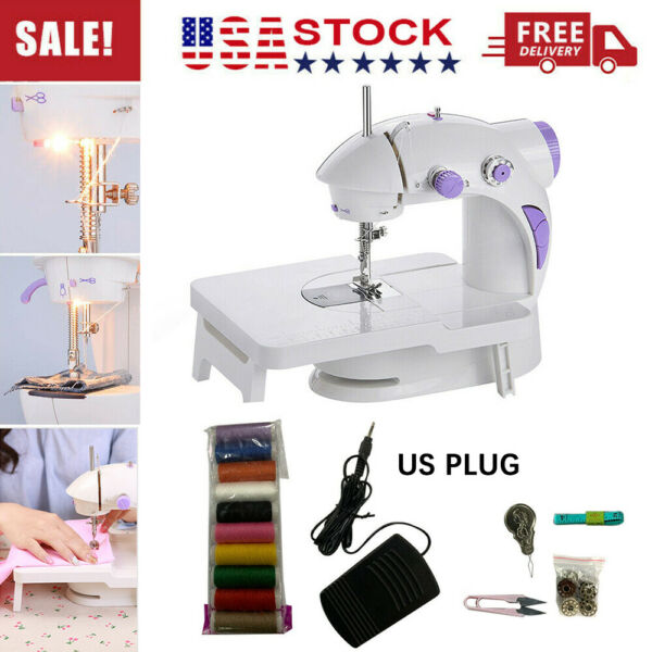 Dual Speed Portable Electric Sewing Machine w Foot Pedal Extension Table Light