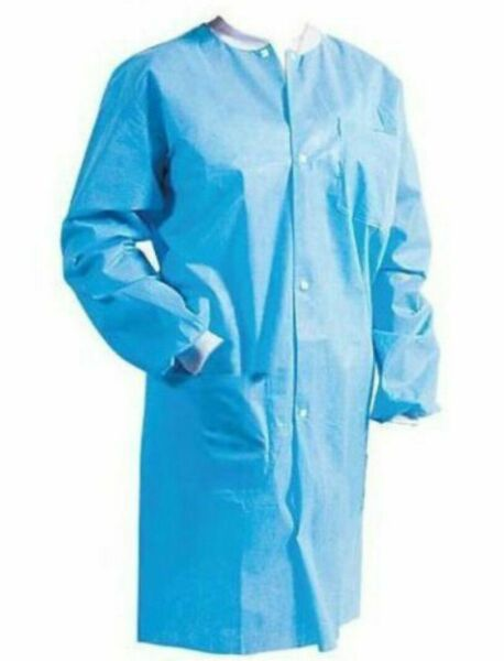 10 Disposable Lab Coat 3 Pocket Blue Lab Gowns 10 pieces Knee Length