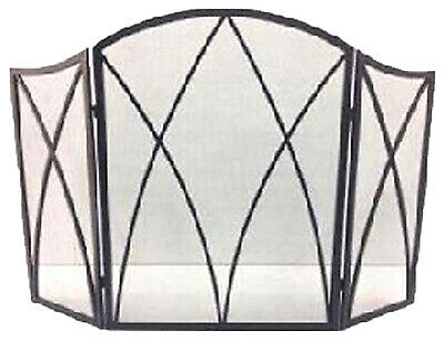 Fireplace Screen Gothic Black Steel 32 x 48 In.