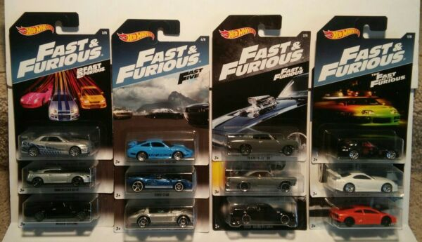 Hot Wheels Fast & And Furious Nissan Skyline GT-R GT40 Supra Porsche Lot of 12