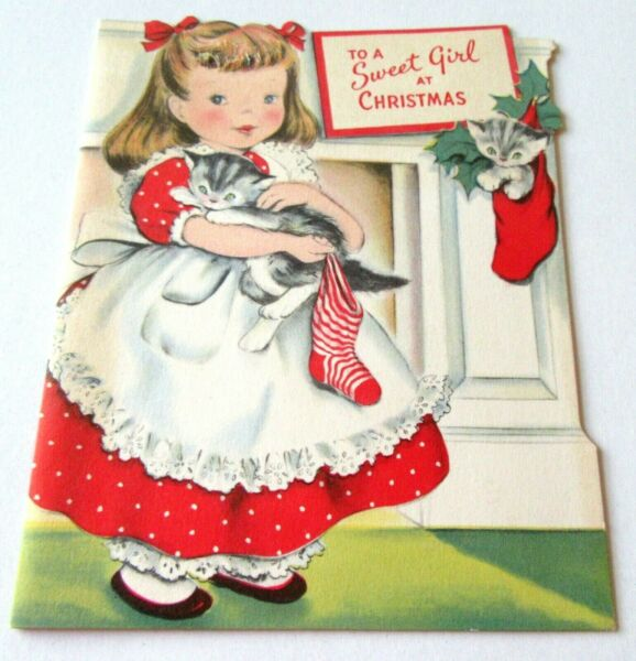 Vtg Christmas Card Cute Old Fashioned Girl with Kitten and Stocking by Fireplace