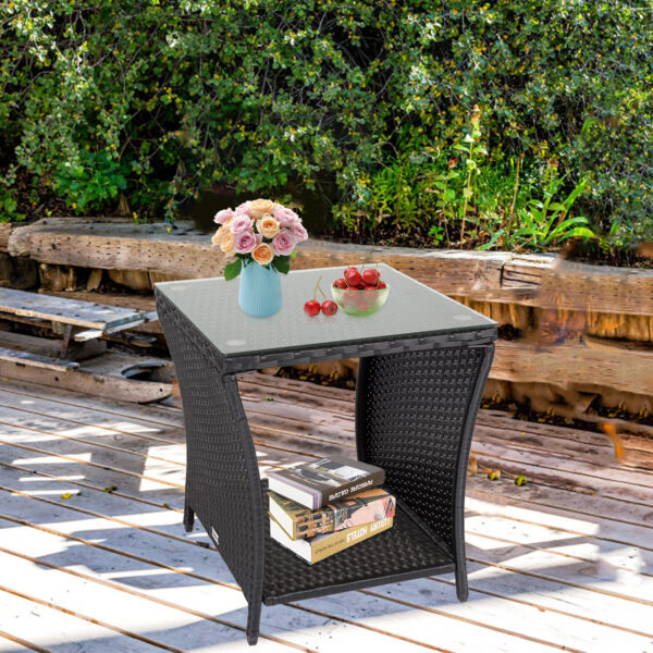 Wicker Patio Table Outdoor Square Coffee Table Wicker Rattan End Table US $59.99