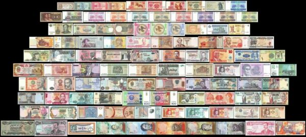 100 Pcs of Different Unique World Foreign Mixed Banknotes Currency Unc + List