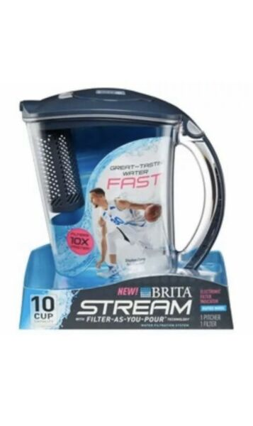 Brita Stream 10 Cup Pitcher with 1 Filter Filter As You Pour Water BPA Free