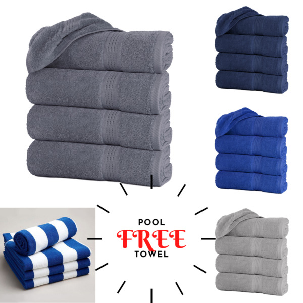 Pack of 4 Luxury Large Bath Towels With 4 Free Pool Beach Towels Limited Time US $42.49