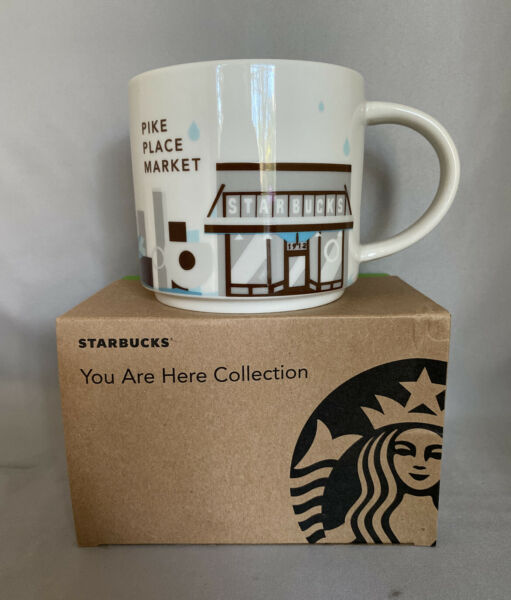 Starbucks Pike Place You Are Here Ceramic Cup 14 Oz. 2015. NWT