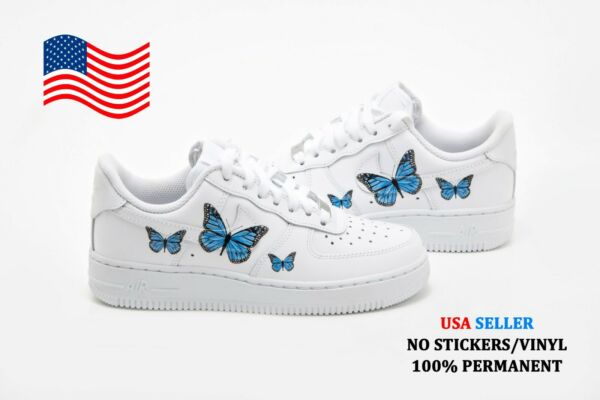 Custom Air Force 1 One Shoes Blue Butterfly Sneakers Women's + Youth Sizes USA