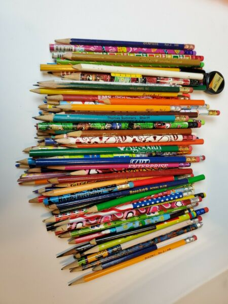 107 Used Wood Lead Color Pencil Stubs Nubs Craft Recycle Upcycle Advertising $6.00