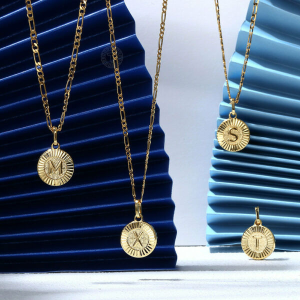 18quot; New Gold Plated Initial Letter Necklace Pendant Stainless Steel Figaro Chain