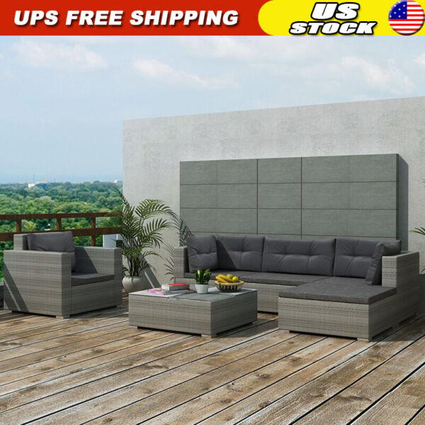 17 pcs Outdoor Patio Furniture Set Rattan Poly Patio Sectional Patio Sofa Gray