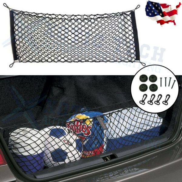 Car Trunk Cargo Net Holder Elastic Mesh Organizer Truck SUV Universal 4 Hook Net $10.59
