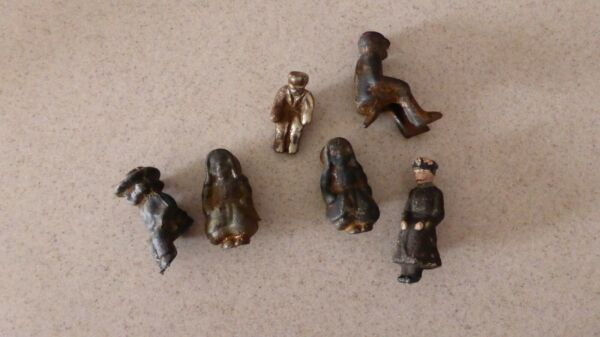 Antique CAST IRON METAL MAN Woman Lot Rider 1 Wooden for Carriage Buggy