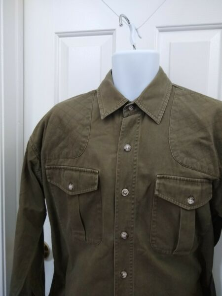 Willis & Geiger Outfitters Bush Poplin Safari Shirt Button Down Hunting Large