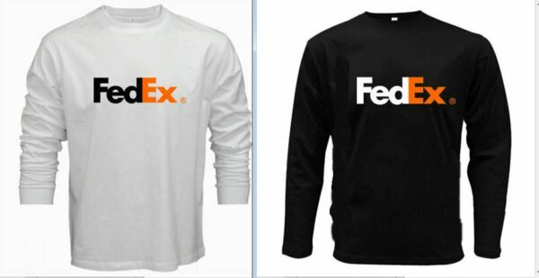 New Fedex 100% Cotton White Orange Logo Long Sleeve Black T Shirt Size XS 5XL