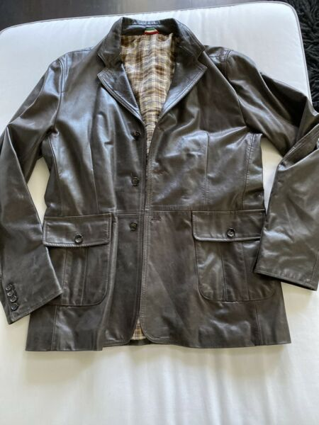 Moschino Men's Brown Leather Jacket Size 54 $149.00