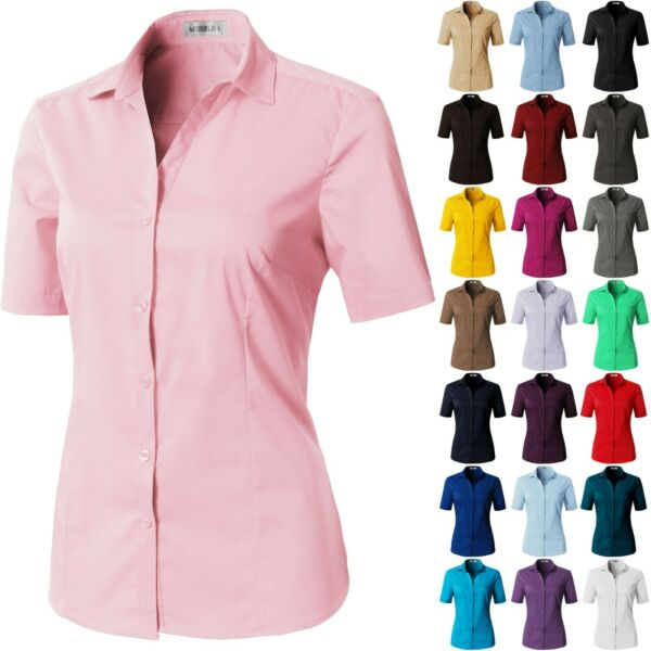 Womens Button Down Shirt Basic SLIM FIT Simple Short Sleeve Collared V-NECK S08 $8.50