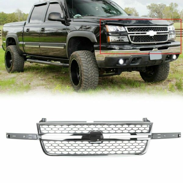 Honeycomb Grille for 05 07 Chevy Silverado 1500 2500 3500 Pickup Chrome amp; Gray