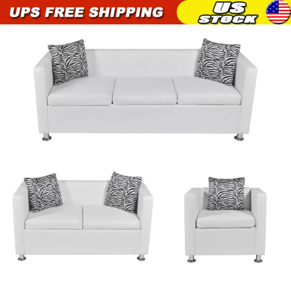 1 2 3 Seater Sofa Couch Artificial Leather Living Room Furniture W Pillow White $192.77