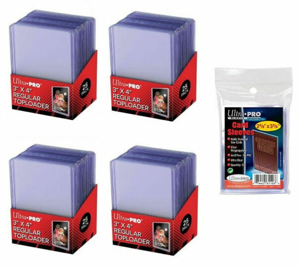 100 BRAND NEW ULTRA PRO 3quot; x 4quot; REGULAR CARD TOP LOADERS 100 SOFT SLEEVES 35PT