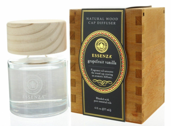 Essenza Grapefruit Vanilla Natural Wood Cap Reed Diffuser Blended with Pure Ess $29.99