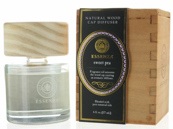 Essenza Sweet Pea Natural Wood Cap Reed Diffuser Blended with Pure Ess $29.99