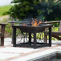 Hammertone Bronze Finish Cocktail Table Fire Pit