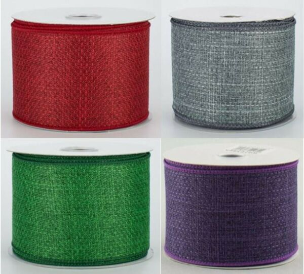 "ROYAL FAUX BURLAP RIBBON ROLL Wired Edge 2.5"" x 10 Yds Canvas Style Accent"
