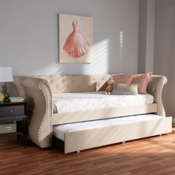 Cherine Beige Button Tufted Fabric Sofa Daybed Frame with Pull Out Guest Trundle $747.99