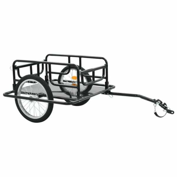 vidaXL Bike Cargo Trailer 51.2quot; Steel Black Bicycle Vehicle Sporting Accessory $161.99