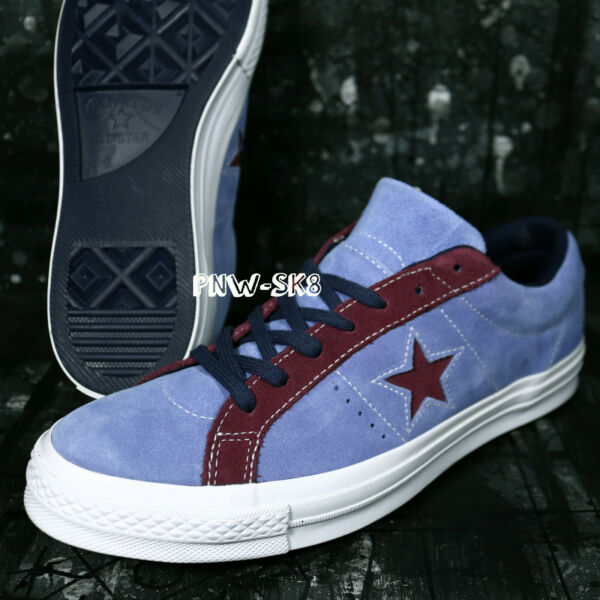 CONVERSE ONE STAR OX Periwinkle Blue Rhododendron RED SKATE SHOES Z7110.174