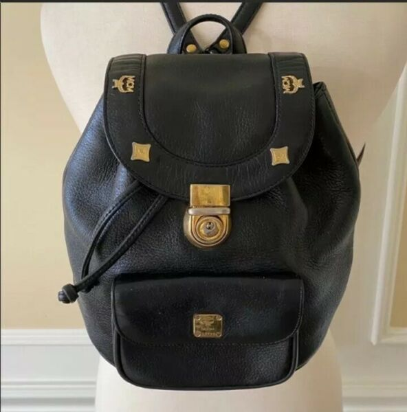 MCM Authentic Logo Black Thick Quality Leather Vintage Germany Made Backpack