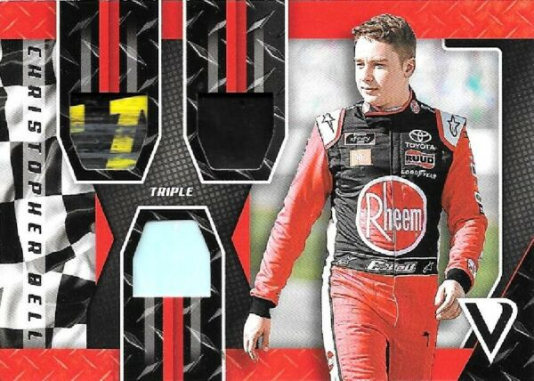 2019 VICTORY LANE CHRISTOPHER BELL TRIPLE SWATCHES RACE USED X3 #TS BE $4.95