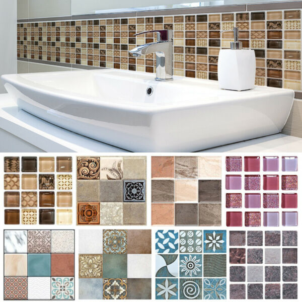 18pc Kitchen Tile Stickers Bathroom Mosaic Sticker Self-adhesive Wall Decor