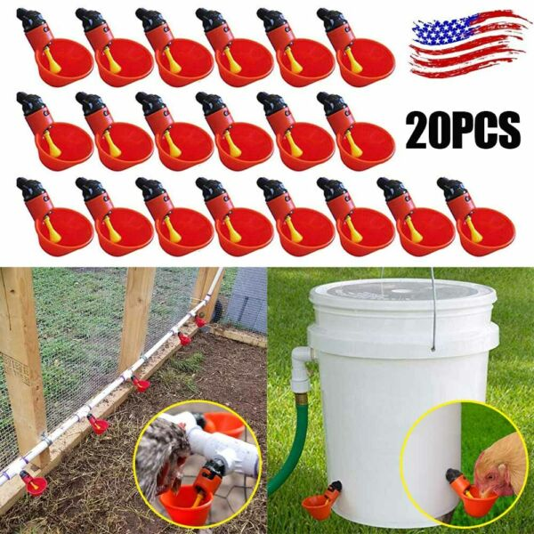20 Pack Poultry Water Drinking Cups Chicken Hen Quail Plastic Automatic Drinker $15.91