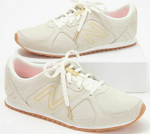 New Balance x Isaac Mizrahi Live! Suede Lace-Up Sneakers 560 Cream/Gold - NEW