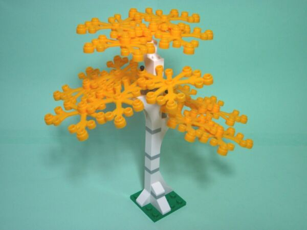 Custom forest birch tree for LEGO yellow leaves angled branches all new parts