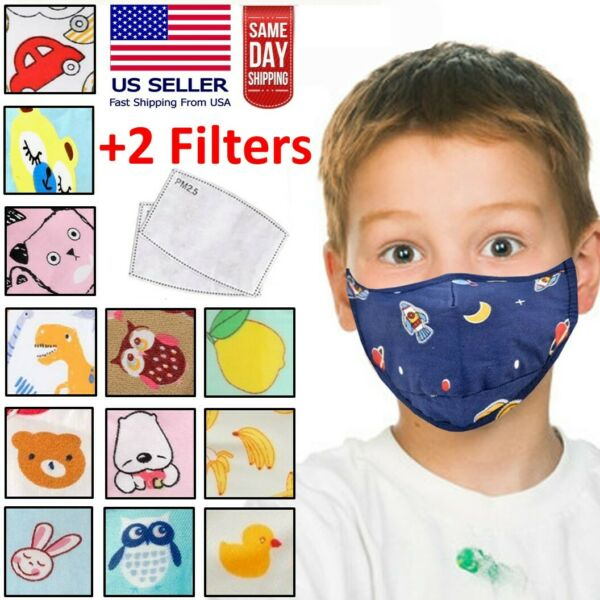 Reusable Washable Kids Children Cloth Fabric Face Mask + 2 PM2.5 Carbon Filters