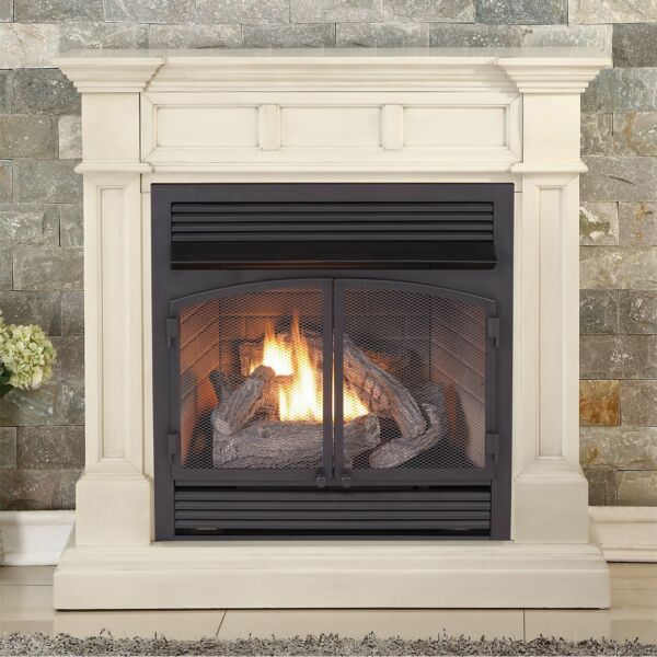 Duluth Forge Dual Fuel Ventless Gas Fireplace 32000 BTU Antique White Finish