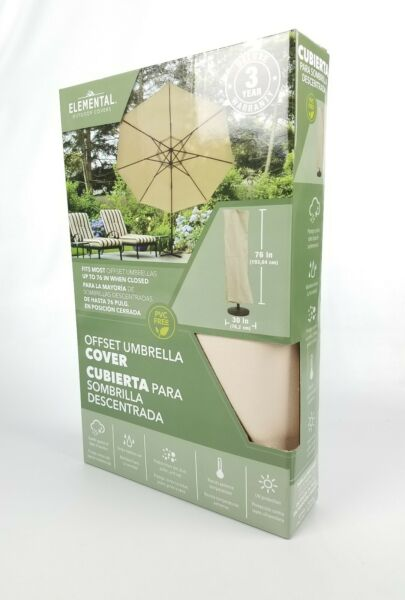 Elemental Outdoor Covers Taupe Polyester Offset Umbrella Cover 76quot; x 30quot; $34.99