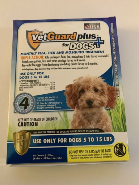 4 Months Flea &Tick Control Drops for Small Dogs 5-15 LBS Vetguard Plus $18.99
