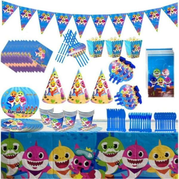 Baby Shark Party Supplies Birthday Decoration Tableware Complete Set - 144 Pcs