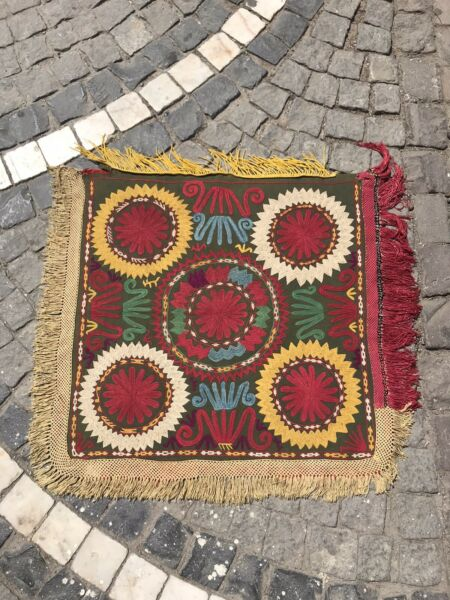 Antique Handmade Textiles Embroidered Cover Uzbek ethnic tribal Table Cover